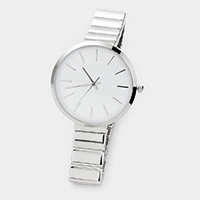 Analog Dial Round Silver Metal Watch