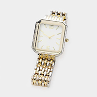 Rectangular Dial Two Toned Metal Watch