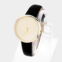 Basic Round Dial Faux Leather Strap Watch