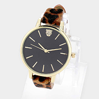 Cheetah Print Round Dial Leopard Fur Strap Watch