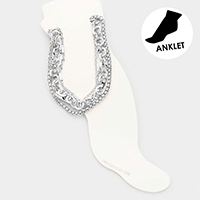 4PCS - Metal Chain Link Layered Anklets