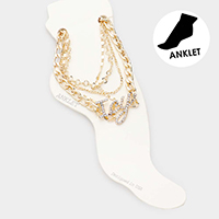 4PCS - Icy Rhinestone Pave Chain Link Layered Anklets