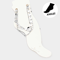 3PCS - Round Metal Link Chain Layered Anklets