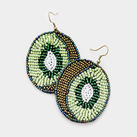 Seed Bead Kiwi Earrings