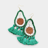 Multi Bead Avocado Tassel Earrings