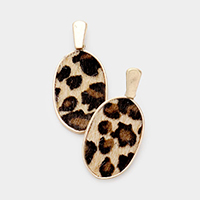 Leopard Faux Fur Oval Earrings