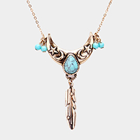 Teardrop Turquoise Tribal Pendant Necklace