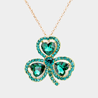 Heart Crystal Rhinestone Clover Pendant Necklace