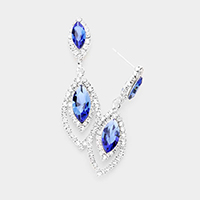 Marquise Stone Accented Rhinestone Trim Evening Earrings