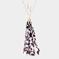 Colorful Leopard Pattern Fabric Tassel Pendant Long Necklace