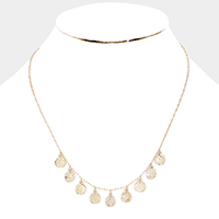 Hammered Round Metal  Drop Necklace