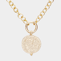 Antique Pattern Round Metal Pendant Link Necklace