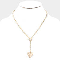 Hammered Metal Heart Toggle Drop Necklace
