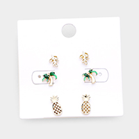 3Pairs - Leaf Palm Tree Pineapple Stud Earrings