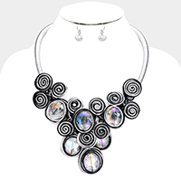 Metal Swirl Disc Oval Bead Statement Necklace