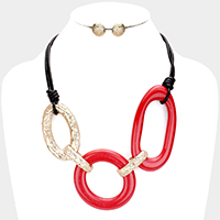 Cut Out Metal Resin Bead Link Cord Necklace