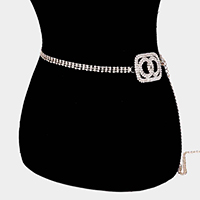 Embellished Crystal Double Open Circle Waist Belt