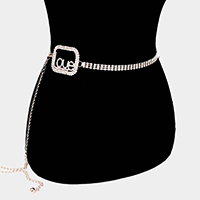 Embellished Crystal Love Waist Belt