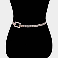 Embellished Crystal Open Rectangle Waist Belt