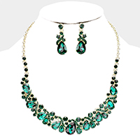 Teardrop Crystal Rhinestone Cluster Evening Necklace