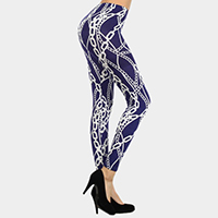 Chain Link Navy and White Printed Leggings