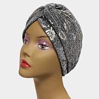Glitter Leaf Patterned Knot Turban Hat