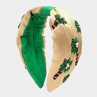 Bead Embellished Palm Tree Knot Headband