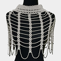 Oversized Draped Pearl Armor  Necklace