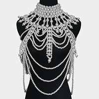 Oversized Draped Pearl Armor Body Chain Necklace
