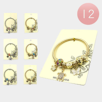 12PCS - Garden Turtle Multi Charm Stretch Bracelets