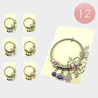 12PCS - Garden Hamsa Hand and Evil eye Multi Charm Stretch Bracelets