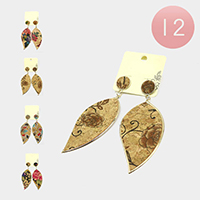 12PCS - Antique Floral Pattern Dangle Earrings