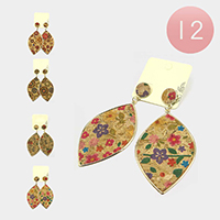 12PCS - Antique Pattern Dangle Earrings