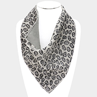 Leopard Pattern Multi Bead Scarf Bib Necklace