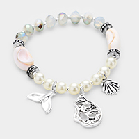 Mermaid and Shell Charm Pearl Bead Stretch Bracelet