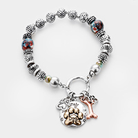My Dog Paw Bone Charm Multi Bead Stretch Bracelet