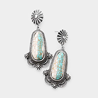 Turquoise Howlite Antique Metal Dangle Earrings