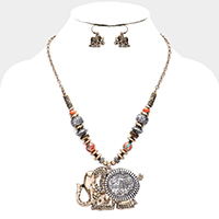 Antique Pattern Elephant Multi Bead Necklace