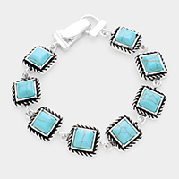 Turquoise Rope Antique Silver Trim Magnetic Link Bracelet