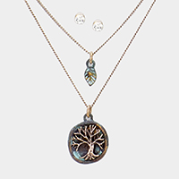 Burnished Metal Tree of Life Leaf Pendant Layered Necklace