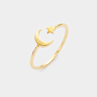 Moon and Star Adjustable Mid Ring