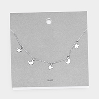 Brass Metal Star and Moon Necklace
