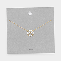 Brass Metal Wave Pendant Necklace