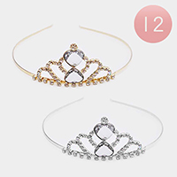 12PCS - Double Heart Crystal Rhinestone Mini Tiaras
