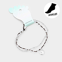 Wave Charm Clear Beaded Layered Anklet