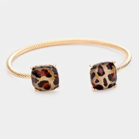 Textured Metal Double Leopard Cuff Bracelet