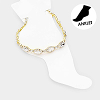 Marquise Crystal Rhinestone Trim Evening Anklet