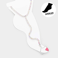Crystal Rhinestone Net Toe Ring Evening Anklet