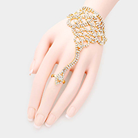 Crystal Floral Rhinestone Hand Chain Evening Bracelet