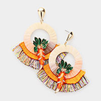 Carrot Fan Tassel Earrings